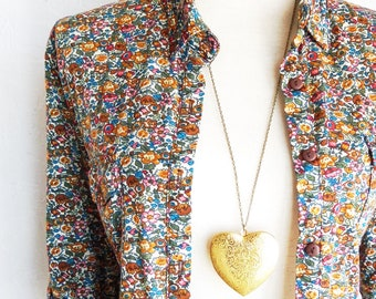 Gold Heart Locket - Large Heart Locket - Brass Heart Locket - Heart Photo Locket - Heart Pendant Necklace - Gift For Her Locket - Valentines