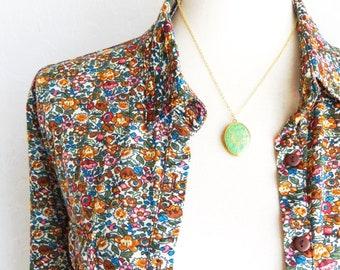 Green Locket Necklace - Vintage Floral Locket - Green Patina Locket - Oval Vintage Locket - Oval Photo Locket - Green Patina Locket