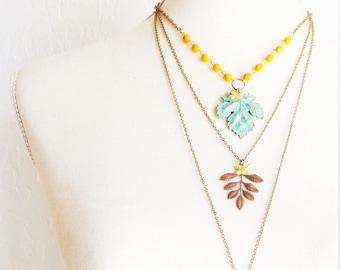 Beaded Maple Leaf Necklace - Verdigris Maple Leaf Necklace - Orange Glass Bead Necklace - Gold Sparrow Necklace - Vintage Beaded Necklace