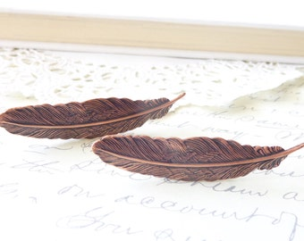 Copper Feather Hair Clip Set - Feather Alligator Clip Hair Pins- Copper Feather Hair Accessory - Bridal Feather Hair Clips - Feather Clips