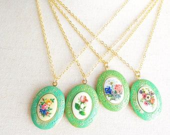 Vintage Patina Locket - Floral Flower Locket - Green Patina Vintage Locket - Green Verdigris Locket - Flower Cameo Locket - Limoges Locket