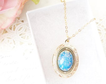 Blue Sapphire Fire Opal Locket Necklace - Gold Blue Opal Locket - Gold Oval Locket - Blue Sapphire Necklace - September Birthstone Gift