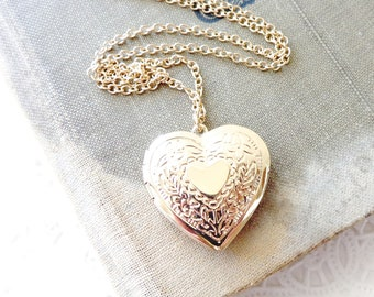 Gold Heart Locket - Gold Heart Pendant - Gold Heart Necklace - Gift For Her - Keepsake Jewelry - Heart Photo Locket - Valentines Day Gift