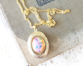 Pink Fire Opal Locket Necklace - Gold Locket - Birthstone Locket Necklace - Keepsake - October Birthday Gift - Fire Opal