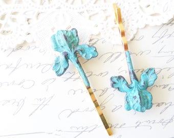 Verdigris Iris Flower Hair Pins - Iris Bobby Pin - Flower Hair Pins - Blue Iris Bobby Pin - Iris Flower Bobby Pins - Green Mint Patina