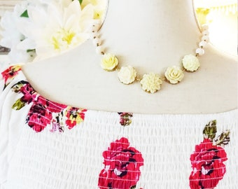 Peaches and Cream Beaded Flower Necklace - Statement Necklace - Easter - Spring - Cream Rose Necklace - Garden Wedding Necklace