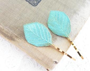 Verdigris Leaf Bobby Pin Set - Blue Green Aspen Hair Pins - Birch Leaf Bobby Pin - Woodland Leaf Hair Pins - Wedding Hair Accessory - Bridal