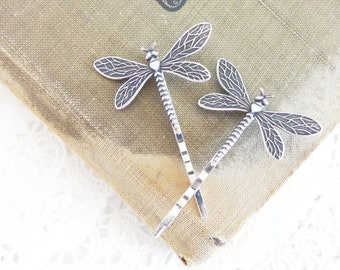 Dragonfly Hair Pins - Dragonfly Bobby Pins - Silver Dragonfly - Dragonfly Moth Fly Wings - Garden Wedding - Nature - Boho - Bridal Hair Pin