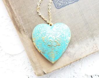 Aqua Patina Heart Locket - Large Heart Locket - Vintage Heart Locket - Blue Green Aqua Teal Heart Locket - Floral Heart Locket - Heart Love