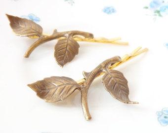 Golden Ox Brass Leaf Branch Bobby Pin Set - Leaf Branch Hair Pins - Woodland Hair Pins - Whimsical - Nature - Bridal Hair Pins