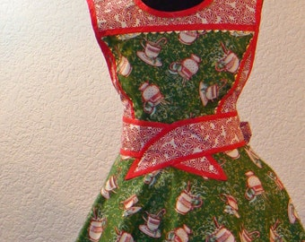 Womens Full Christmas Coffee And Hot Chocolate Cup Apron With Peppermint Candy Accents