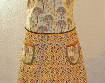 Women's Plus Size Autumn Trees And Leaves Full Apron