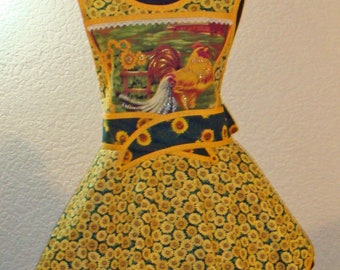 Women's Hen And Rooster Sunflower Full Apron