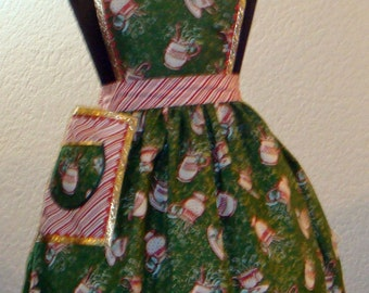 Women's Full Christmas Hot Chocolate And Coffee Cup Apron  With Peppermint Candy Accents