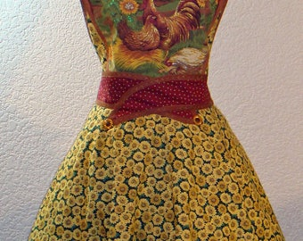 Women's Rooster, Hen Sitting On A Nest, And Sunflower Full Apron