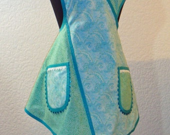Paisley And Miniature Leaves In Blue And Green