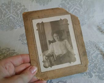 Black and White Photograph of Handsome Woman Sitting in Wooden Chair in Washington, DC circa 1910's Ephemera