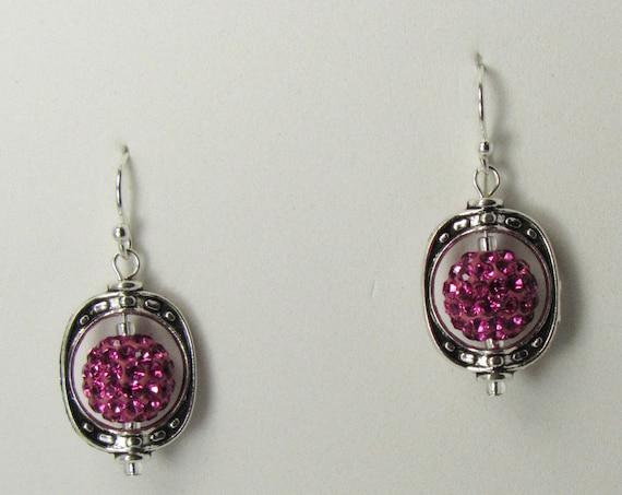 Hot Pink Drop Dangle Earrings    SKU: ER 1033
