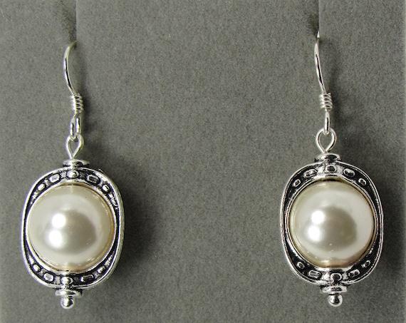 Creamy White Pearl Framed Earrings   SKU: ER 1032
