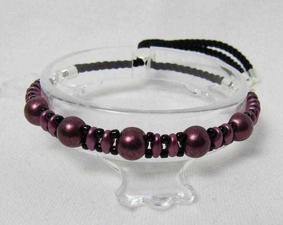 Burgundy and Black Adjustable Bracelet SKU: BR1040