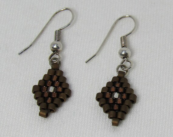 Dark Copper Diamond Shape Earrings SKU: ER11