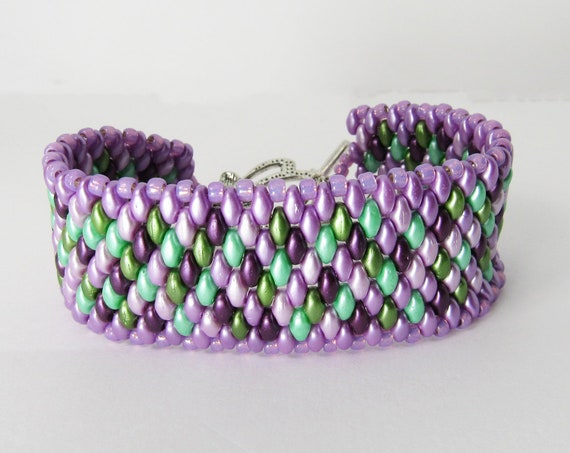Multi Shades of Purples & Greens Stitch Beaded Bracelet Sku: BR1033