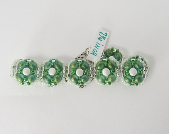 Green and White Stitch Beaded Bracelet Sku: BR 1037
