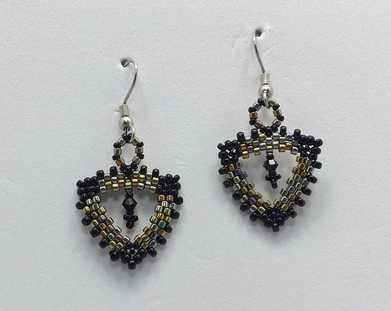 Mix Metal Peyote Stitch Beaded Earrings with Swarovski Crystal in center Sku: ER1015
