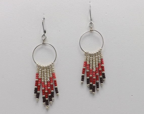 Beaded Dangle Earrings in a Chevron Design using Shades of Red Seed Beads - 2 1/4 inches Long