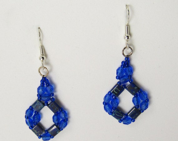 Deep Blue Stitch Beaded Earrings Sku: ER1038