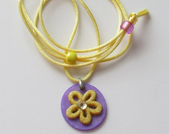Yellow Flower Adjustable Corded Necklace SKU: NK1026