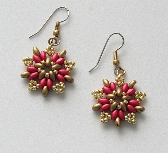 Starburst Design in Red & Gold Earrings Sku: ER1042