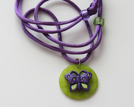 Purple Butterfly Adjustable Corded Necklace SKU: NK1025