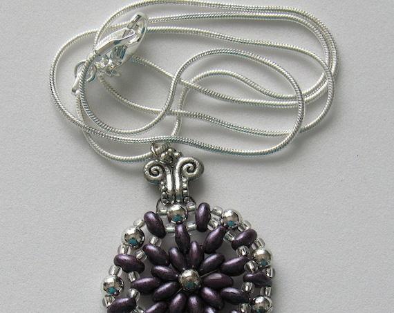 Dark Purple & Silver Round Pendant Sku: NK1028