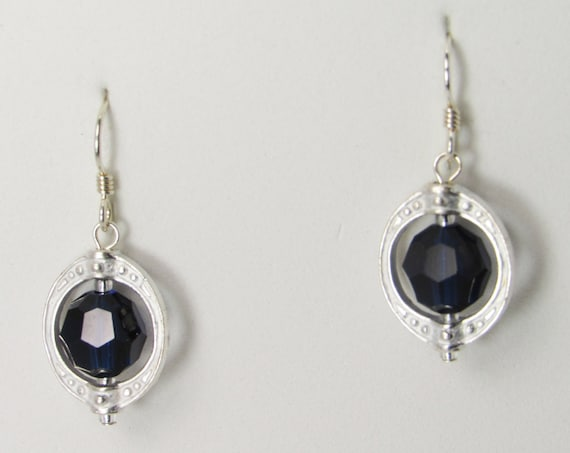 Dark Blue Crystal Framed Earrings SKU ER19
