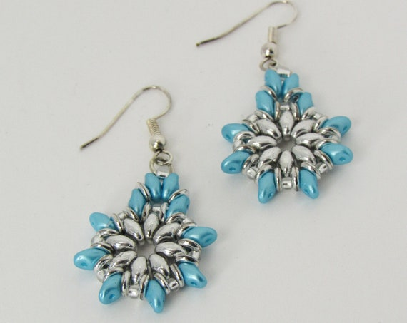 Aqua & Silver Drop Earrings Sku: ER1029