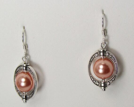 Peach Pearl Framed Earrings SKU: 1034