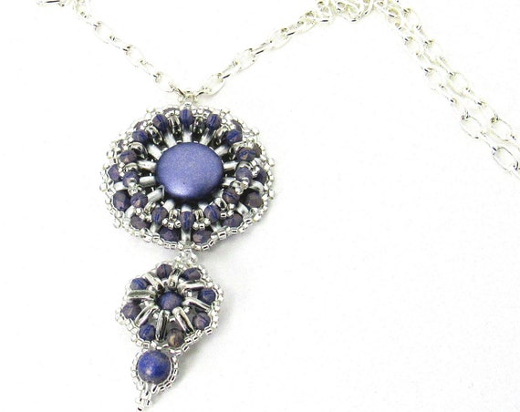 Double Round Beaded Pendant in Light Purples SKU PND1005