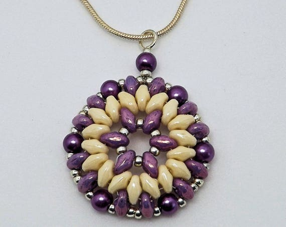 Purple and Cream Round Pendant SKU: NK1010