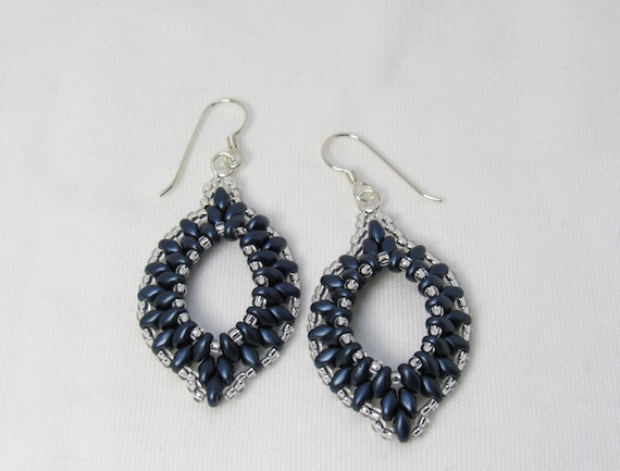 Dark Blue & Silver Earrings SKU: ER02