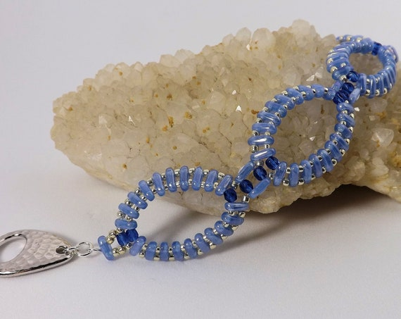 Oval Beaded Bracelet in Light & Dark Blue 7 inch long SKU BR1035