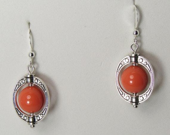 Coral Colored Bead Framed Earrings  SKU: ER1037