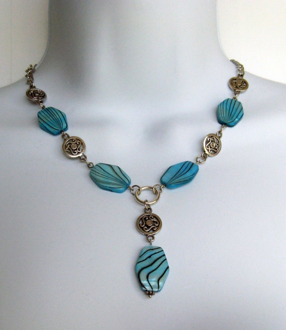 Y Necklace design - Ocean Blue beads with Striations of black - 19 inch long - 3 inch extendeer