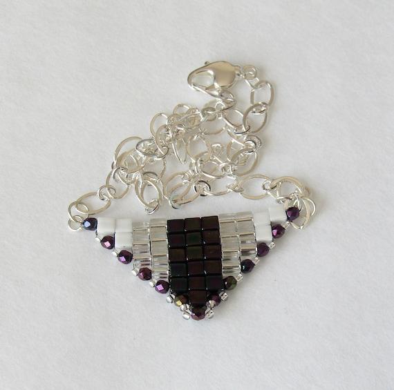Triangle Pendant Necklace with Deep Purple Arrow SKU: NK1039