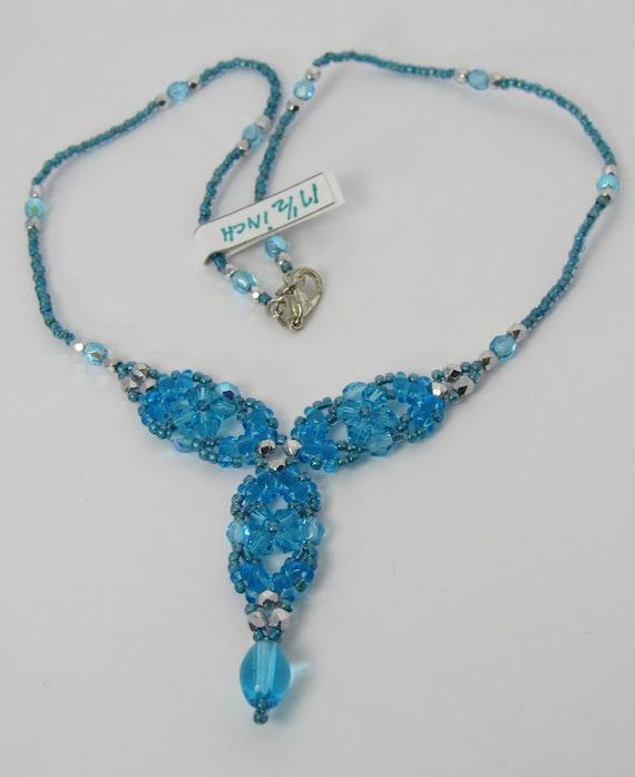 Aqua-Blue Y Shaped Necklace Sku: NK1017