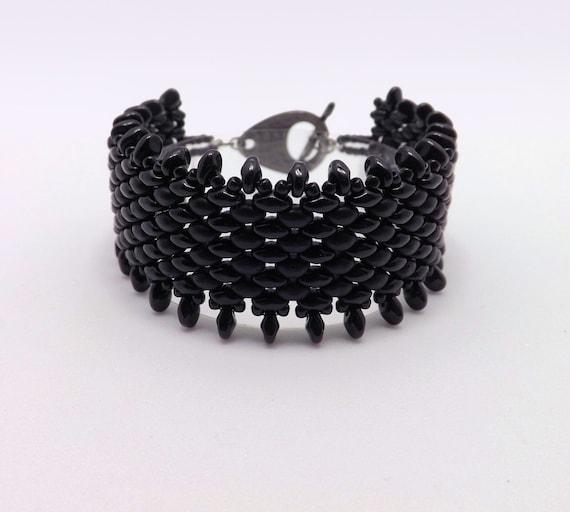 Black Beaded Fringe Bracelet - fits 7 inch wrist Sku: BR1016