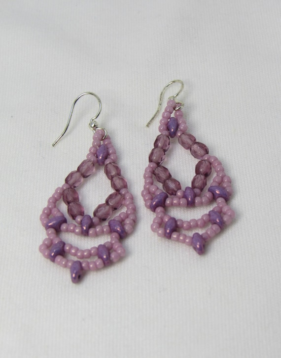 Lavender Lacey Beaded Vintage Style Earrings SKU: ER09