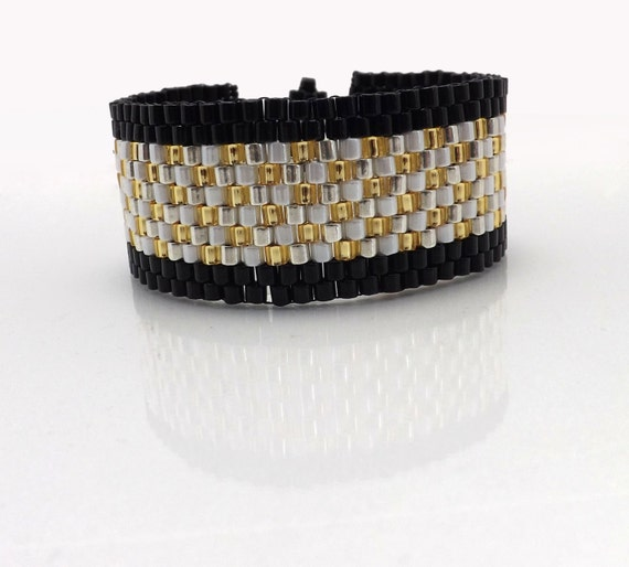Peyote Stitch Bracelet-Black, White, Gold, Silver beads-Cuff style 7 inches long SKU: BR1009