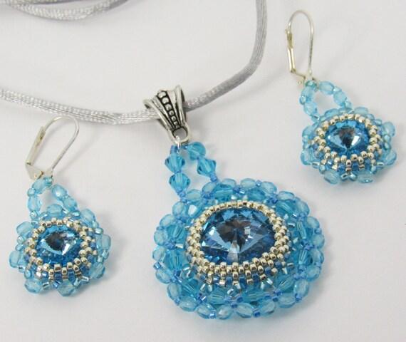 Crystal Round Aqua Pendant Necklace & Earring Set Sku: NK1020