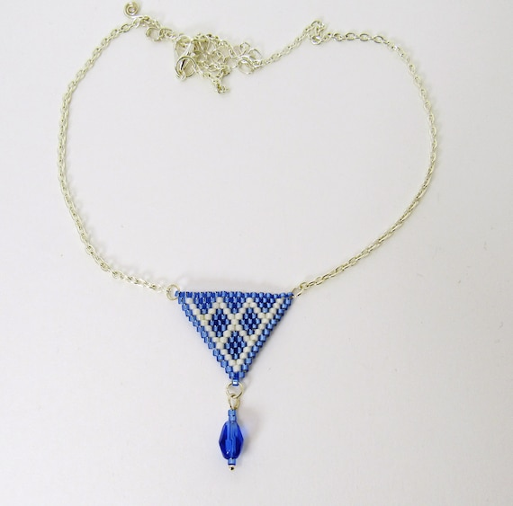 Beaded Triangle Choker Necklace in Sapphire Blue & White SKU NK1016